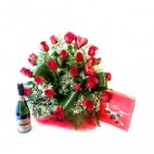 Cesta de 24 Rosas Rojas +Cava ESP.+Bombones