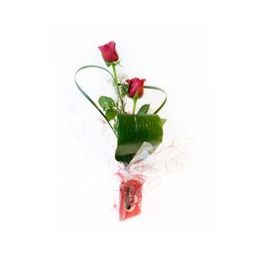 2 Rosas rojas + Violetero