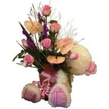 Arreglo floral más peluche Grande